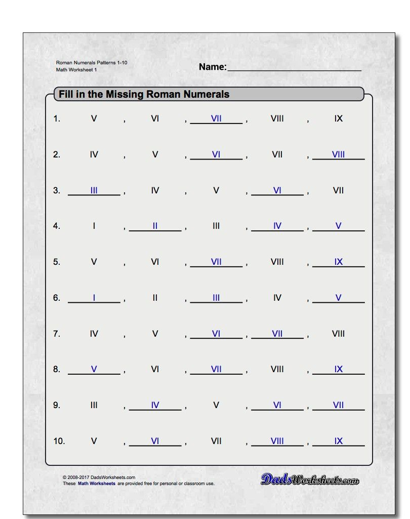 small resolution of These fill-in the blank style Roman numeral pattern worksheets help  students practice counting in Roman numerals and …   Roman numerals