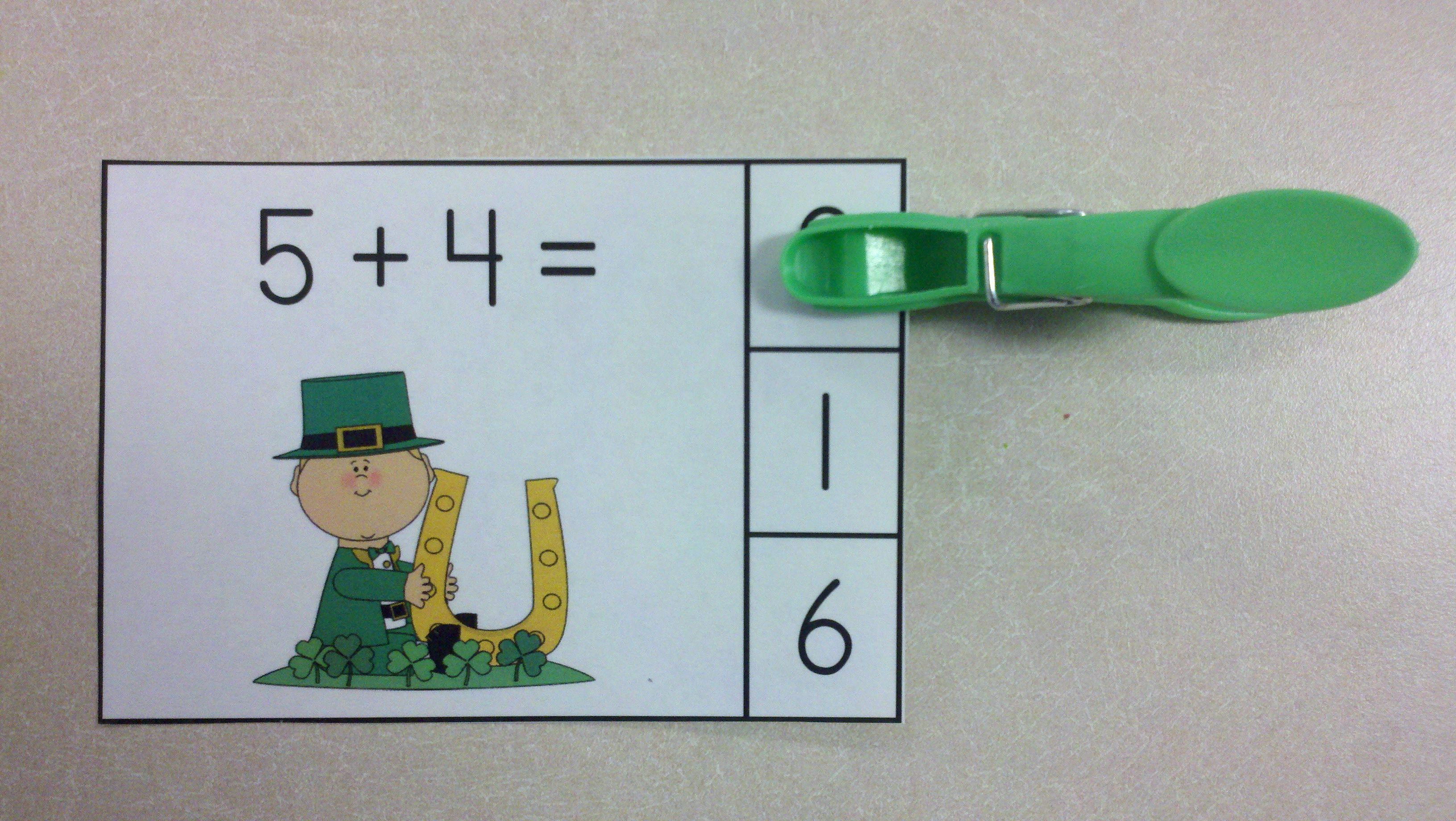 St Paddy S Day Addition Math Centers Sums Of 0 To 10