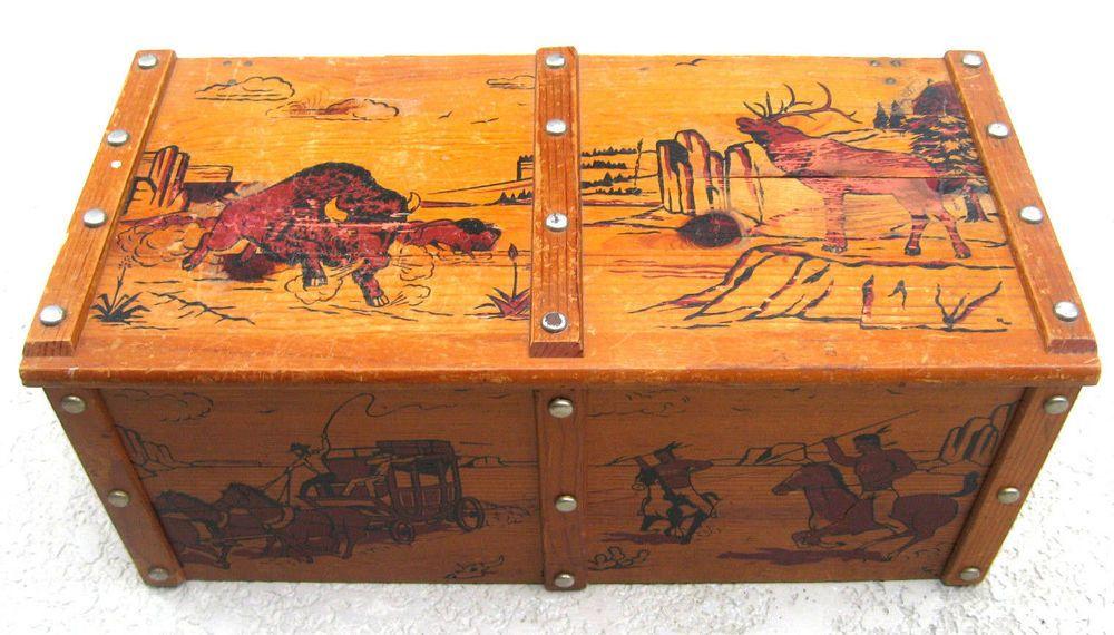 Cowboys Bull Horse Vintage Toy Box Wood Chest Western Theme Wooden Chest Vtg