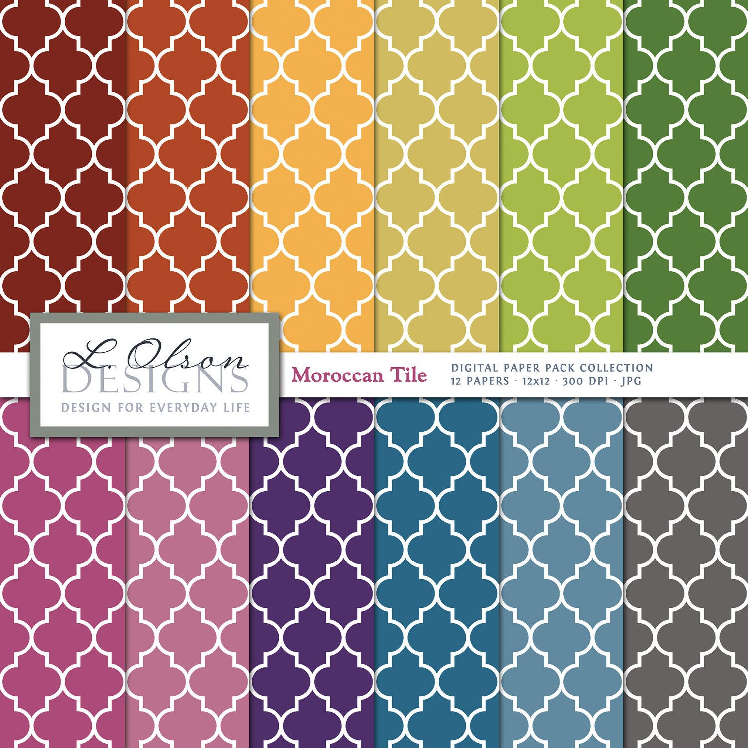 morrocan tiles | Rainbow Moroccan Tile Paper Pack - 12 digital paper patterns - INSTANT ...