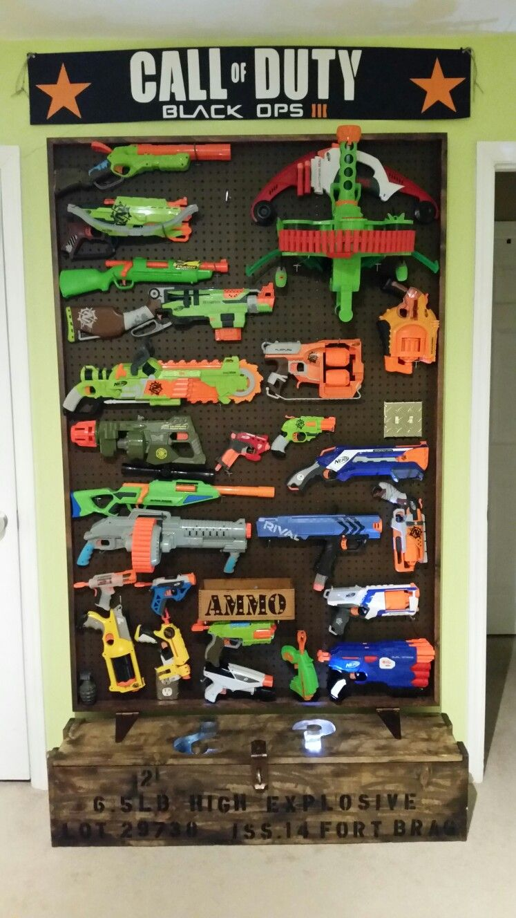 Nerf gun wall with call of duty mystery box