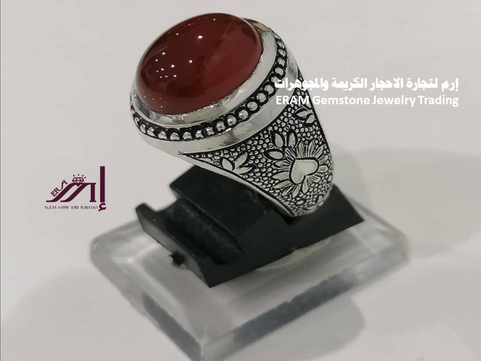 تميز بارتداء خاتم رسمي نقش مميز يماني عقيق احمر درجة اولى Agate مميز طبيعي100 للعرض