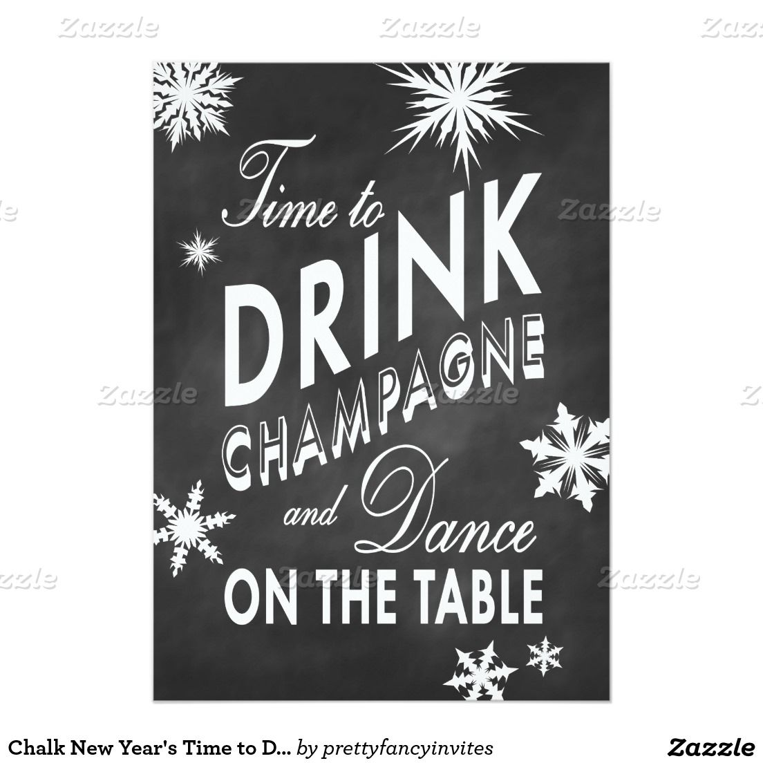 Chalkboard New Year\'s Eve Party Invitation - Time to Drink ...