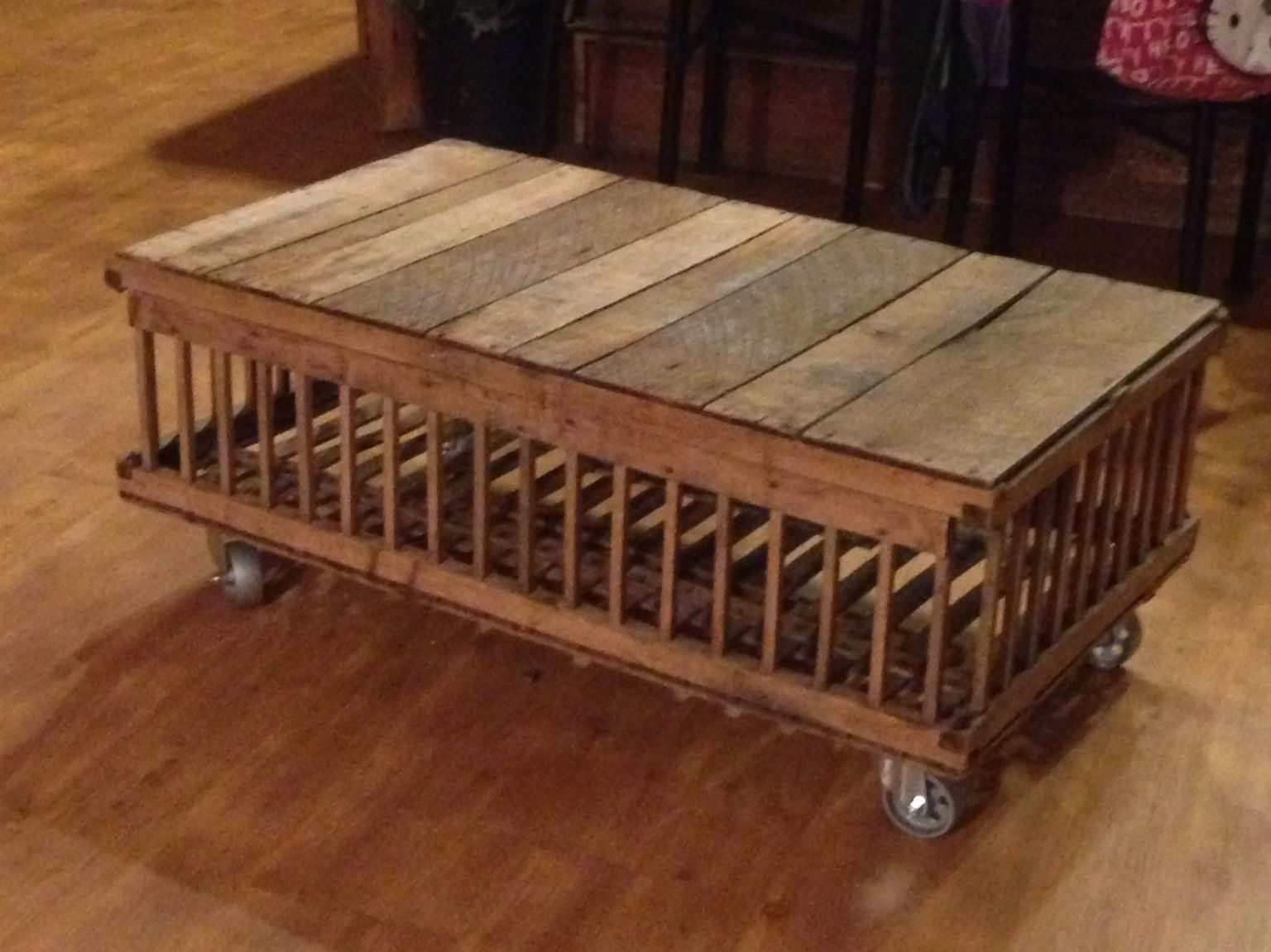 My coffee table made out of an old chicken crate for for Coffee table made out of wooden crates