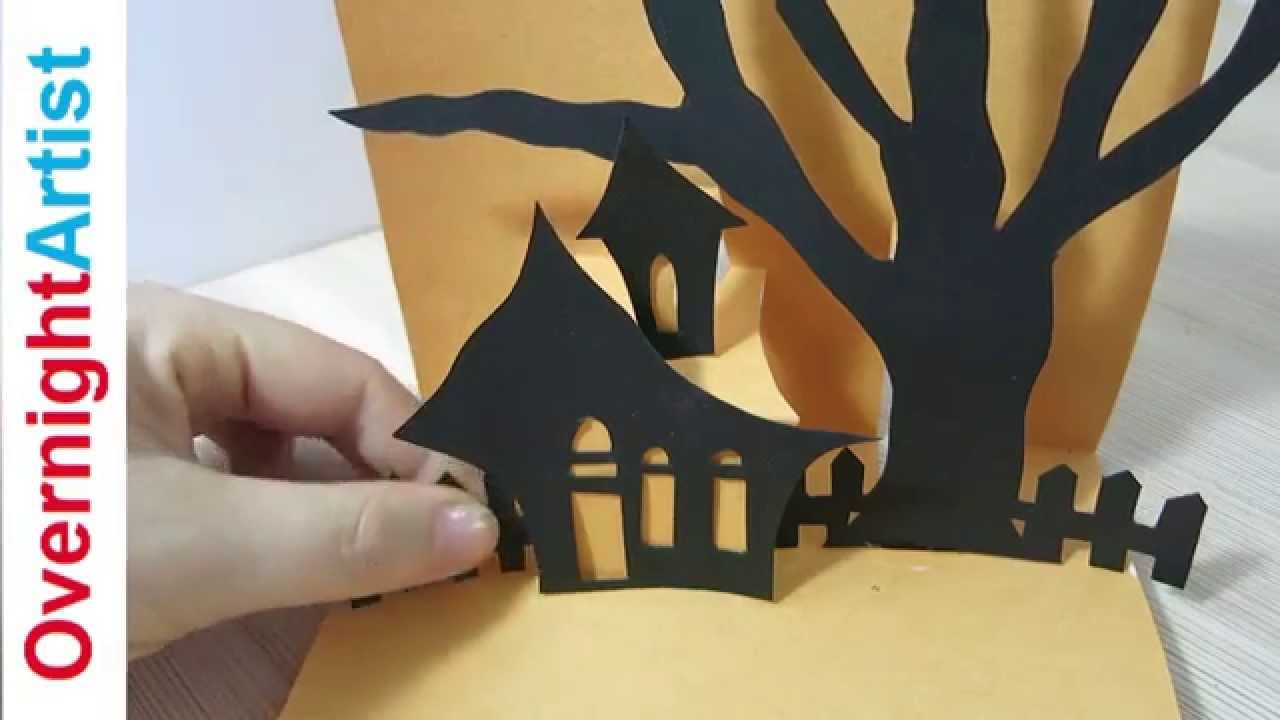 Halloween Card How To Make Pop Up Card For Halloween Youtube Pop Up Card Templates Halloween Pop Up Cards Halloween Cards