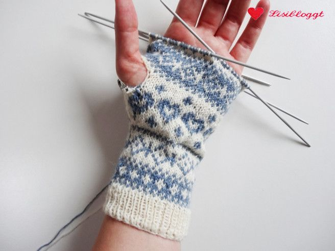 Photo of Instructions: Knit half finger gloves with Norwegian pattern
