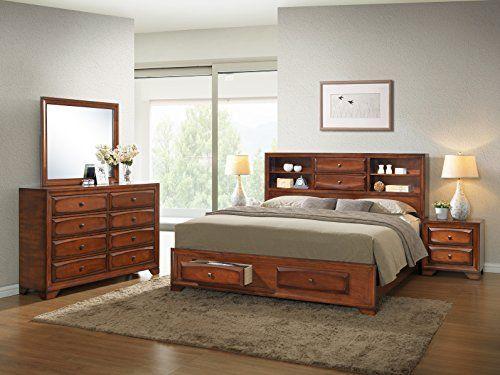 Roundhill Furniture Asger Antique Oak Finish Wood Bed Room Set, King ...
