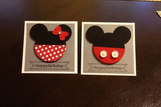 tarjeta mickey y minnie | カード 手作り, バースデーカード, カード