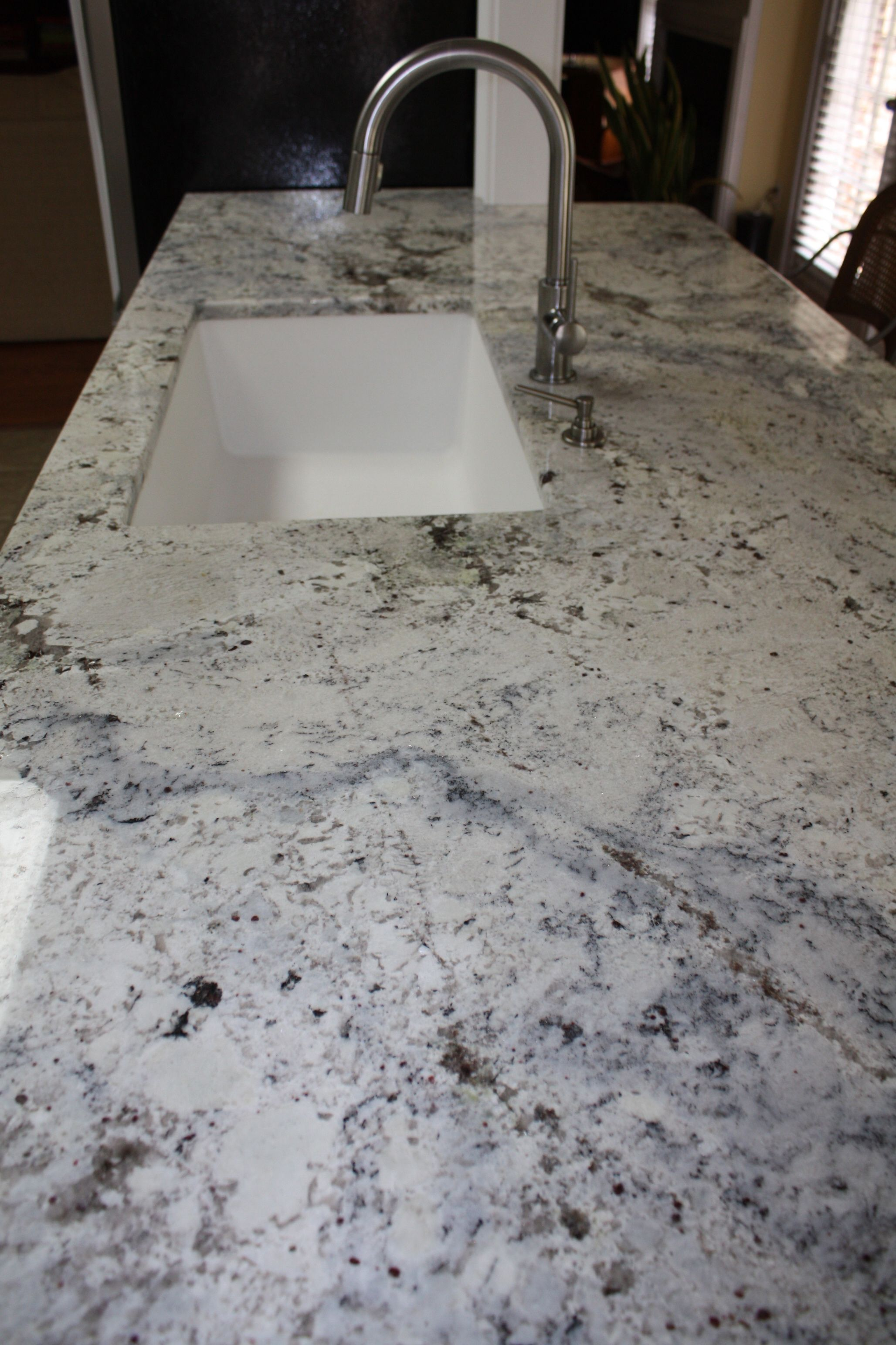 Charmant White U0026 Grey Granite With Composite Undermount Sink.