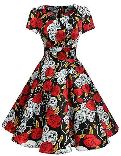 ab5eb7c61de DRESSTELLS Vintage 1950s Solid Color Prom Dresses Short Sleeved Retro  Audery Swing Dress Black Skull S
