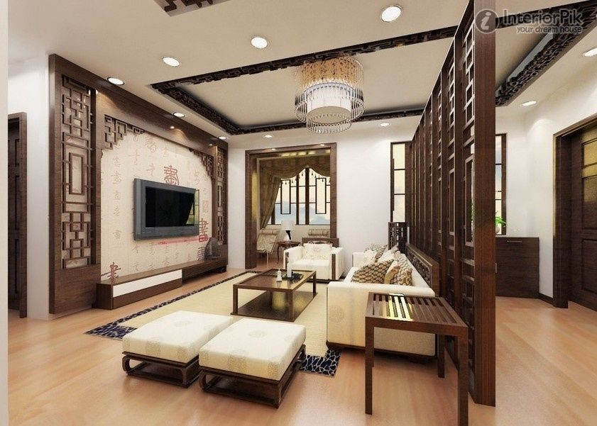Living RoomTraditional Modern Chinese Interior Room Apartment Wooden Divider Wall Tv