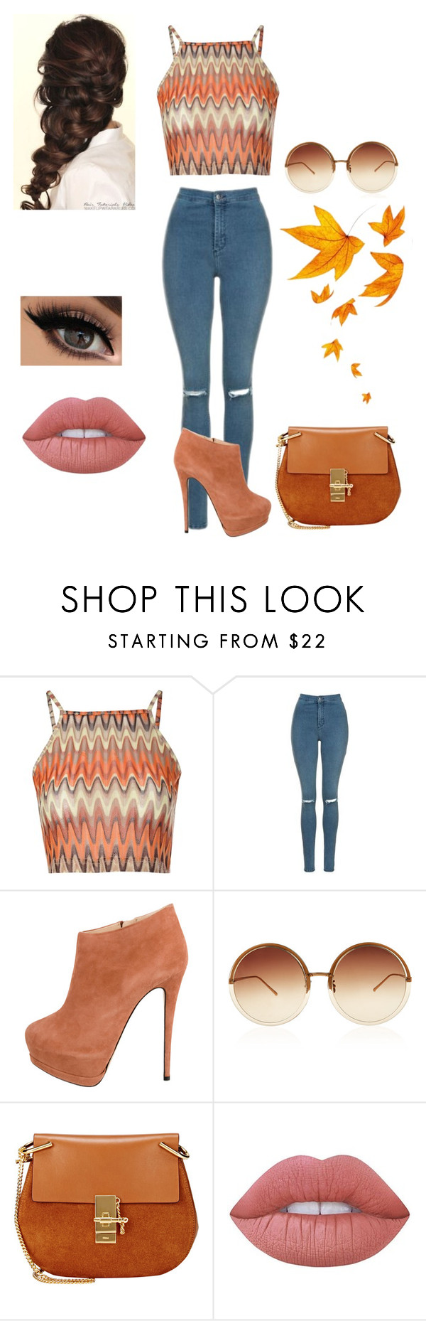 """""""Untitled #570"""" by jujuxx33 ❤ liked on Polyvore featuring Glamorous, Topshop, Giuseppe Zanotti, Linda Farrow, Disney, Chloé and Lime Crime"""