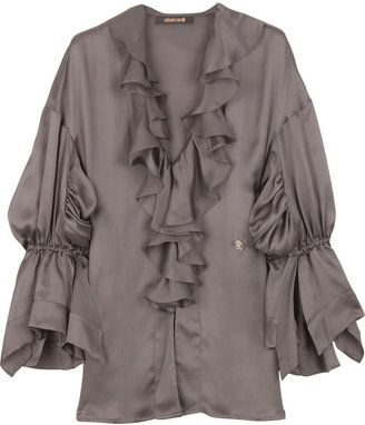 29b9b94c923cf2 ShopStyle  Roberto Cavalli Ruffle-front blouse