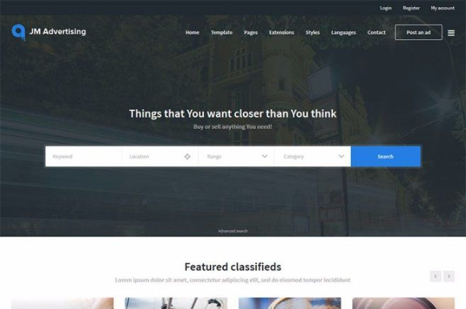 New Joomla Clifieds Template Jm Joomadvertising Brings You Everything Need To Start An Online Or Auction Website