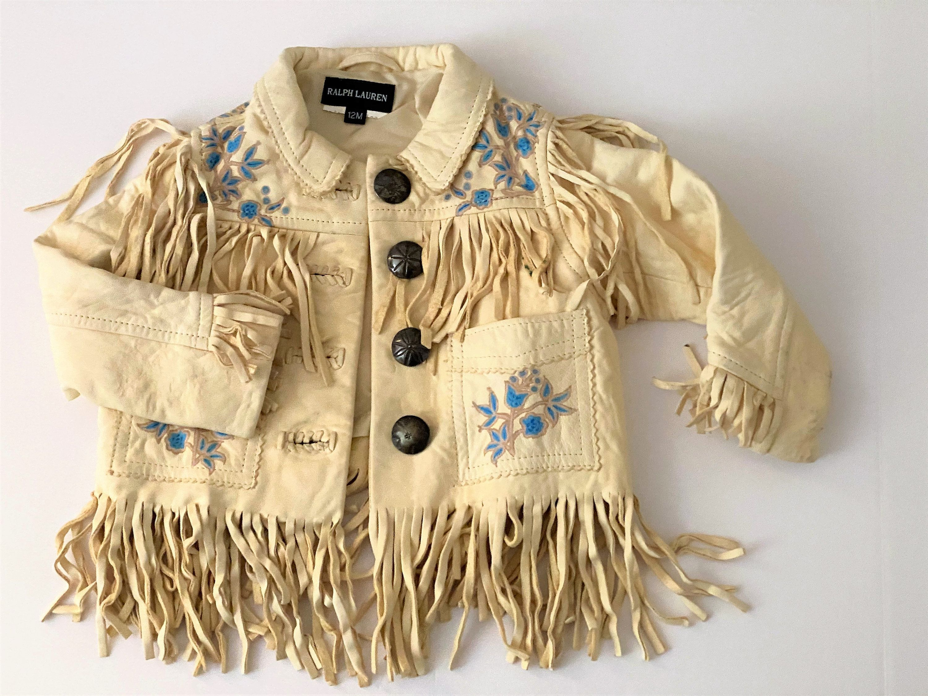 Ralph Lauren Designer Vintage Fashionista Baby Leather Fringe Jacket Sz 12 Month Western Cowboy Cowgirl In 2020 Fringe Leather Jacket Fringe Jacket Leather Fringe