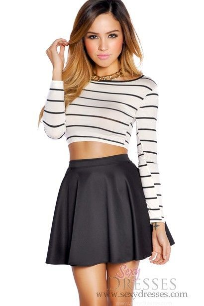 Black High Waisted Skater Skirt | Cool clothes, Striped crop top ...