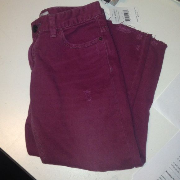 free people cropped jeans maroon distressed cropped jeans Free People Jeans Ankle & Cropped