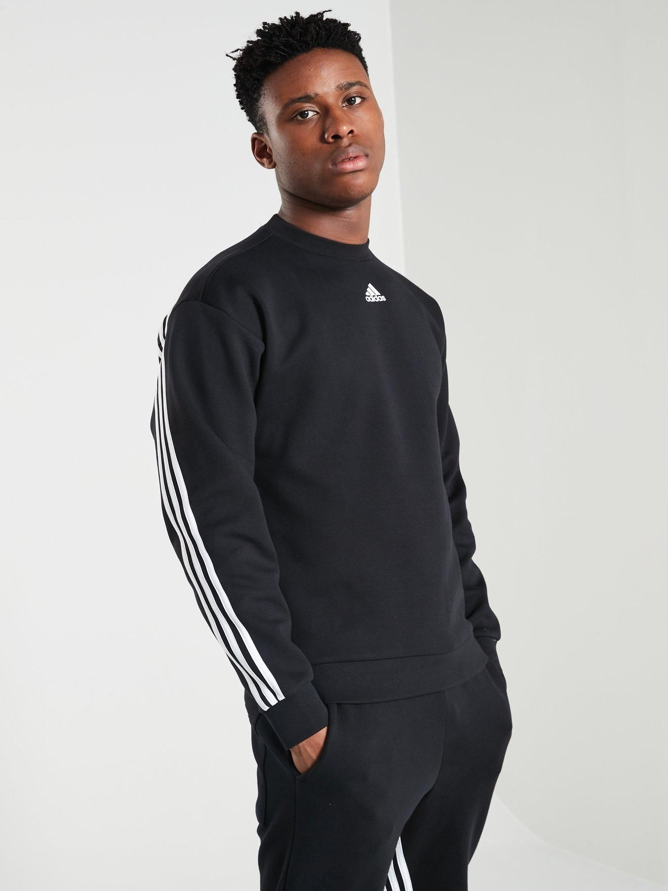 Essentials 3 Stripes Crew Sweatshirt Black 3XL Mens