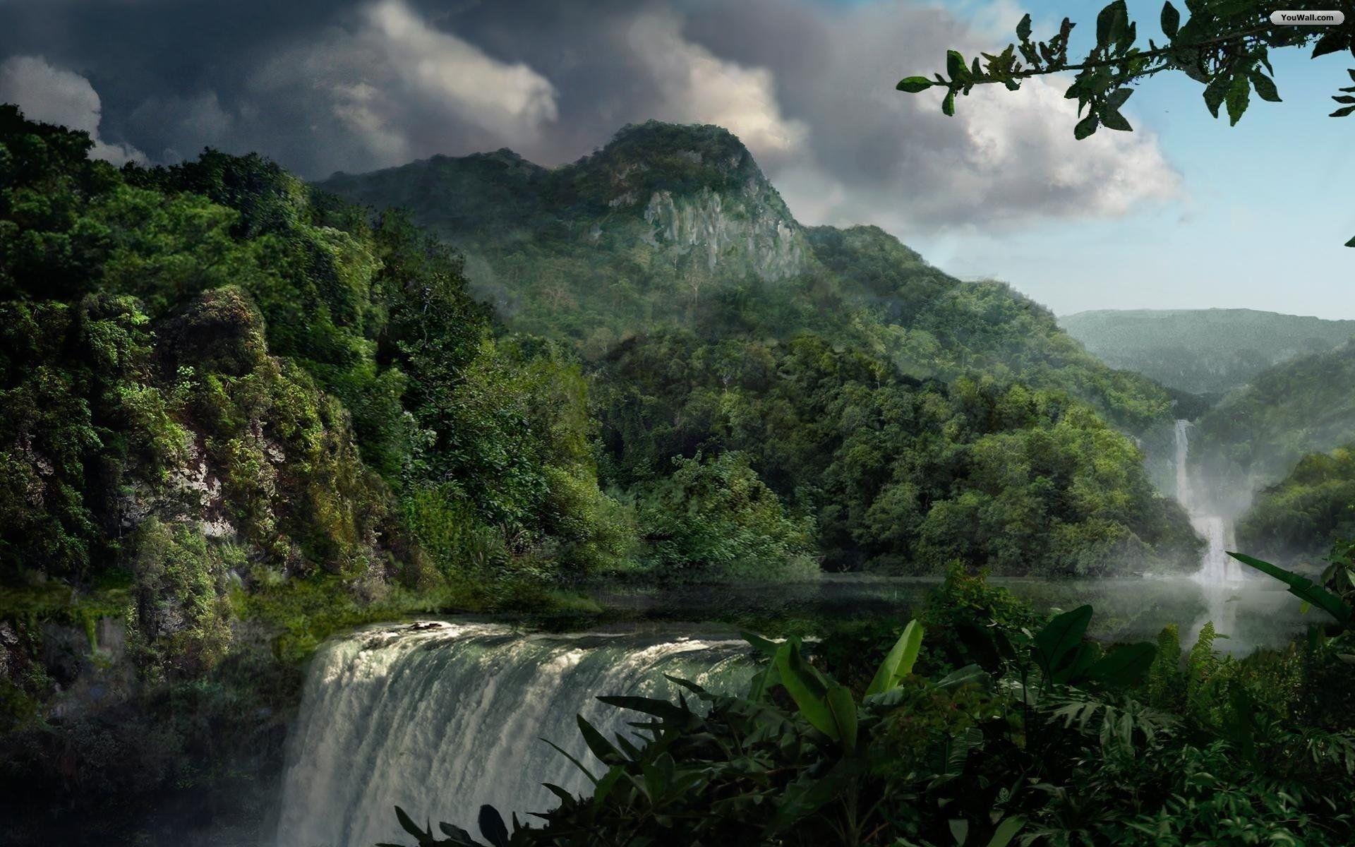 1920x1200 Wallpaper Desktop Hintergrundbilder Hd Desktop Dschungel Landschaft Beautiful Wallpaper Nature Wallpaper Waterfall Wallpaper Scenery Waterfall