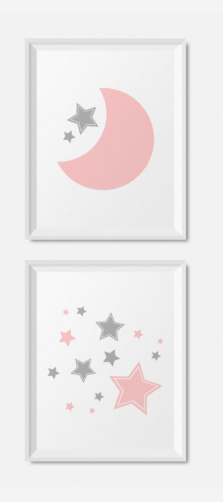 Moon And Stars Nursery Prints Printable Nursery Art Pink Etsy Grey Nursery Decor Baby Girl Decor Baby Wall Art