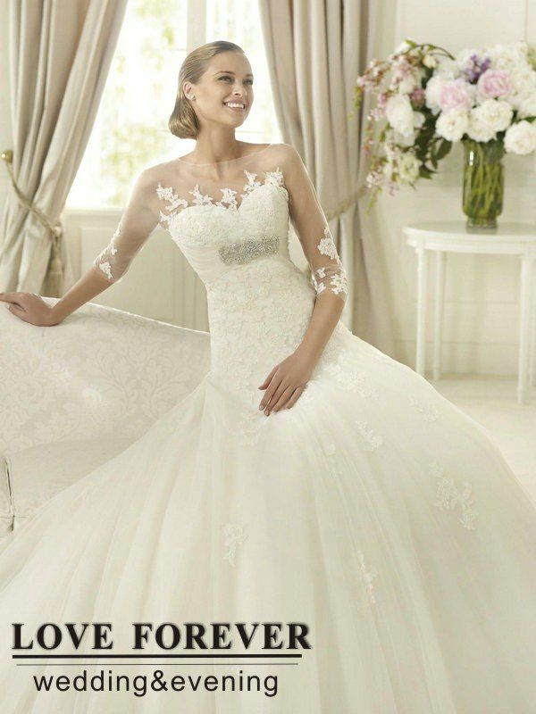 Sheer Neckline Tulle and Lace Elegant Long Sleeve Wedding Gowns 2013 ...