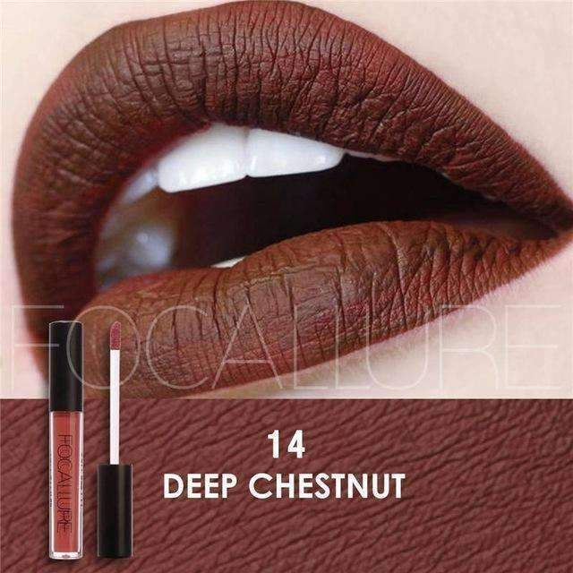 FOCALLURE #14 DEEP CHESTNUT | Waterproof Matte Lip Gloss Liquid Lipstick Moisturiser