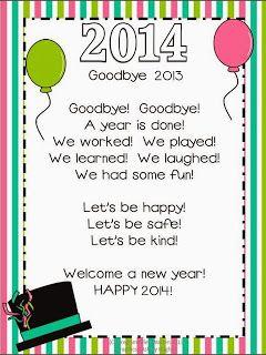 New Year Freebies Happy New Year Poem New Year Poem Kindergarten Smorgasboard