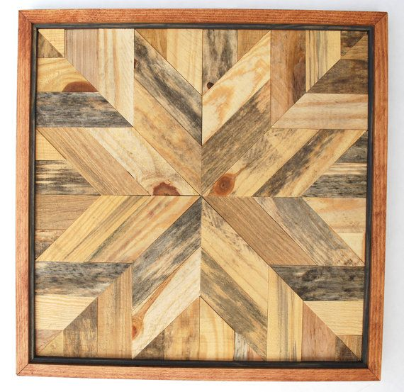 Star Quilt Design Wood Wall Art, Rustic Wood Wall Art, Fixer Upper ...
