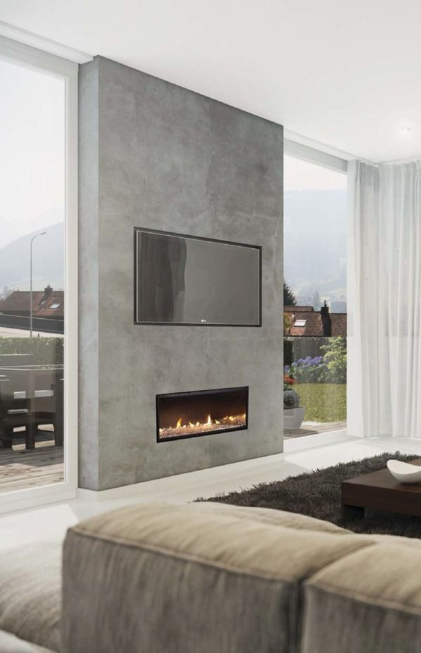 gas fire with tv and window either side