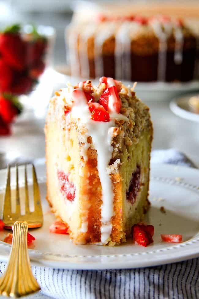 Cream Cheese Coffee Cake (with strawberries!) #mountaindewcheesecake