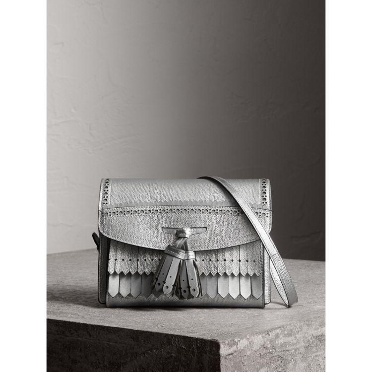 8f6dc85a2390 Brogue Detail Metallic Leather Crossbody Bag in Silver - Women