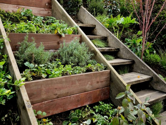 Garden staircase made of wood garden ideas with stairs