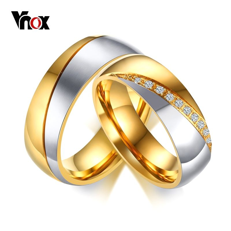 b8b08efb9d Temperament Wedding Rings For Women Men CZ Stones Stainless Steel  Engagement Band Anniversary Personalized Jewelry