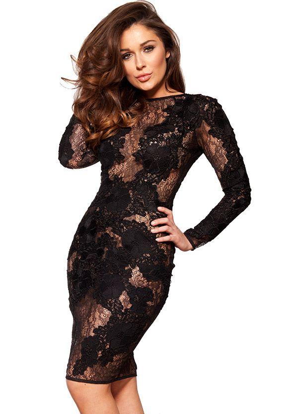 Elegant Black Dress Lace Sleeves