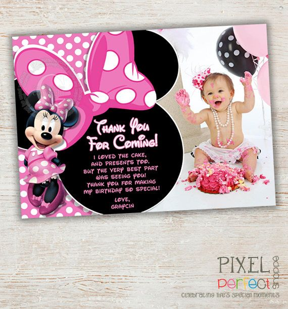 Minnie Mouse Thank You Card Minnie Thank You Pink Minnie Mouse Polka Dot Minnie Mouse Birthday Invitations Minnie Mouse Theme Party Minnie Mouse Invitations