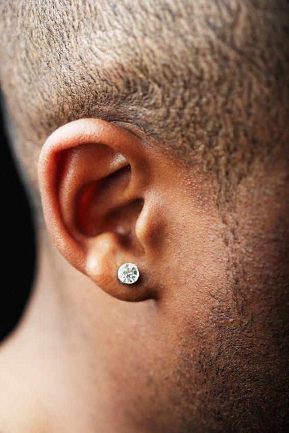 Promotion Mens Silver Stud Earrings White Diamond Cz Post Hip Hop Bling For G