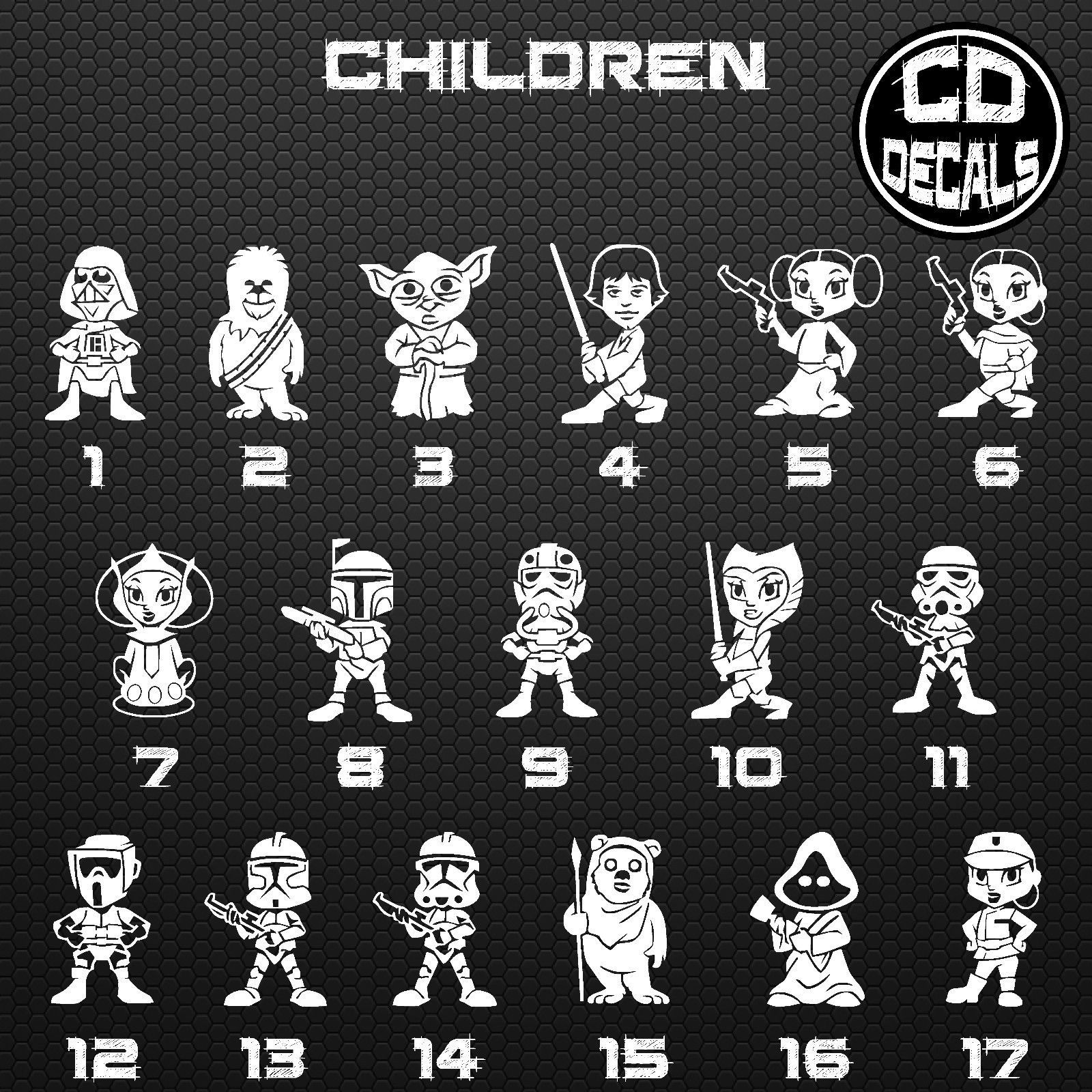 Star wars stick figure family vinyl decal sticker car window wall laptop cartoon ebay