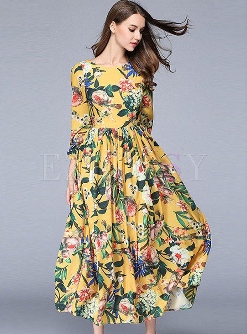 Chiffon Floral Print Gathered Waist Three Quarters Sleeve Maxi Dress Summer Maxi Dress Floral Maxi Dress Spring Maxi Dress [ 1066 x 789 Pixel ]