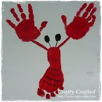 I love hand print crafts. I'm convinced you can turn a hand print into anything. This a cute lobster that use two hand prints and a foot print, too.