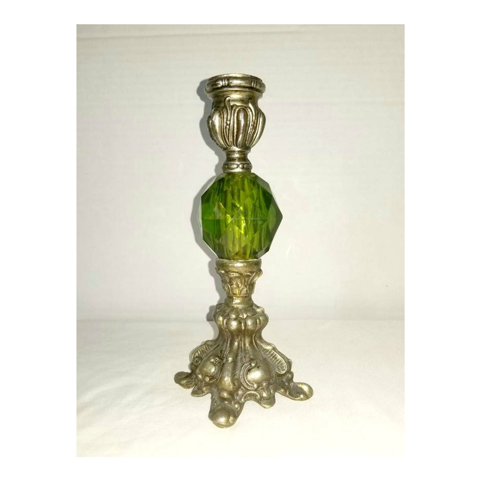 Vintage Green Glass And Silver Candle Holder,Green Candle Holder,Victorian Candle