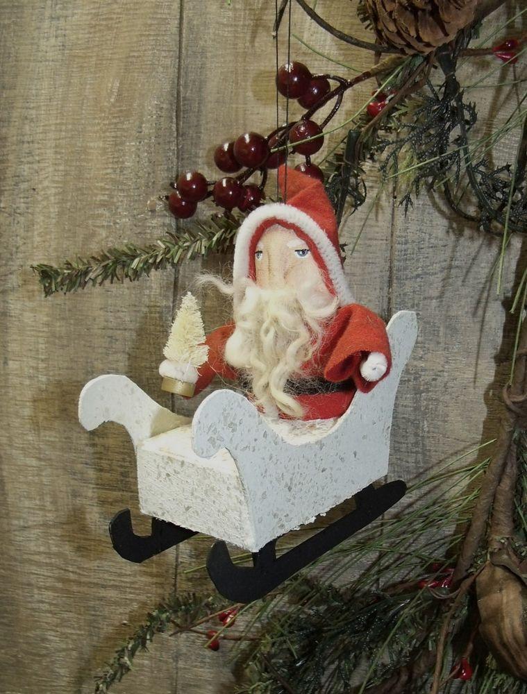 PRIMITIVE/Christmas/Santa sleigh/vintage look ornament/handmade