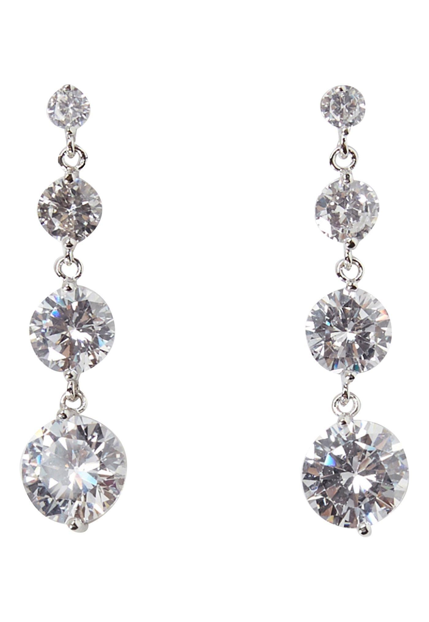 Love Rocks Cz Drop Earrings Silver