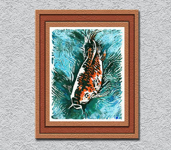 Wedding Gift Koi Fish 25% Off Home Decor Wall Art By 3StreetArt