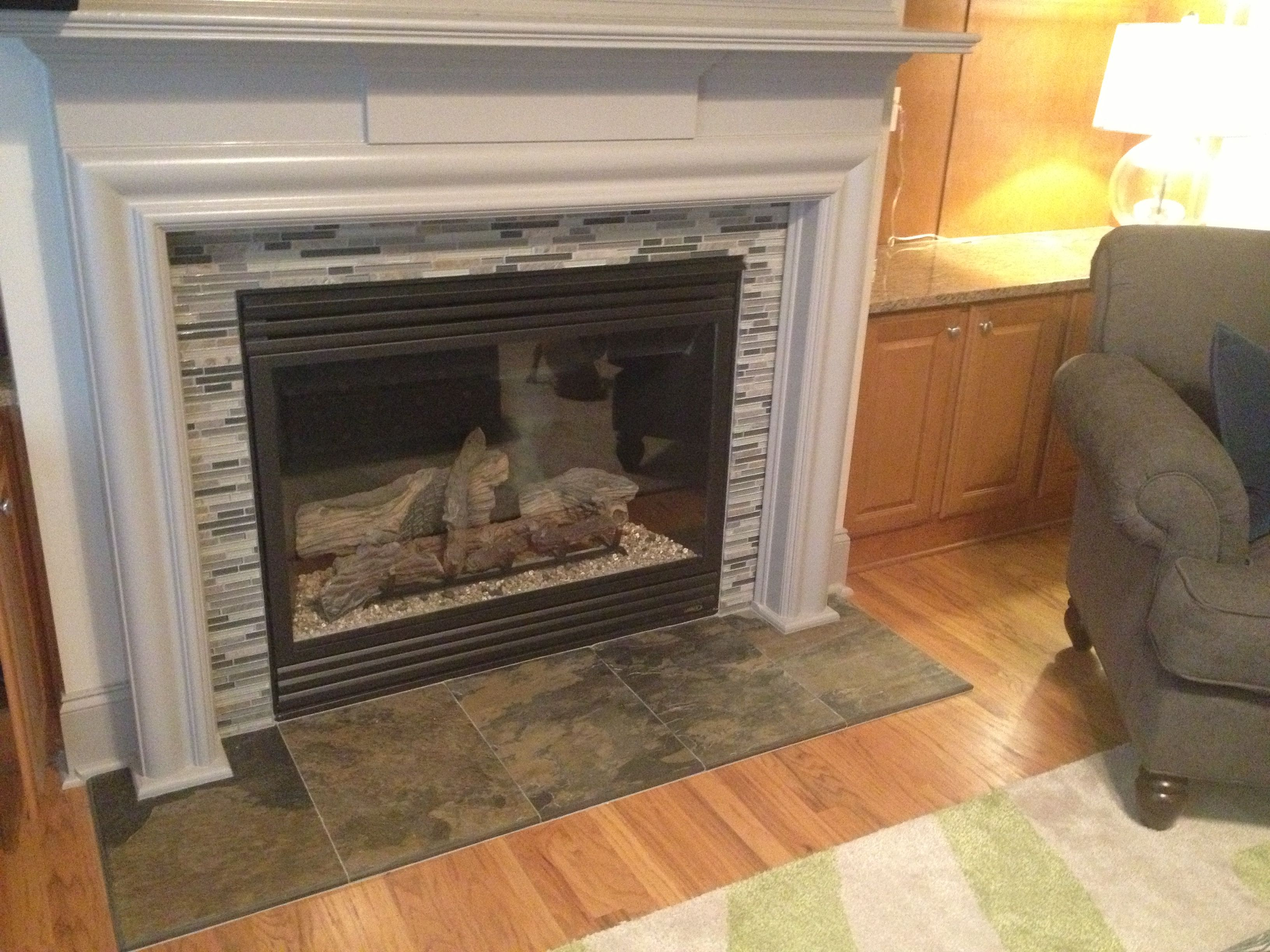 I Really Like The Look Of This From Original Pinner Angela Mattson Newly Tiled Fireplace Mantle R Fireplace Tile Surround Fireplace Tile Fireplace Makeover