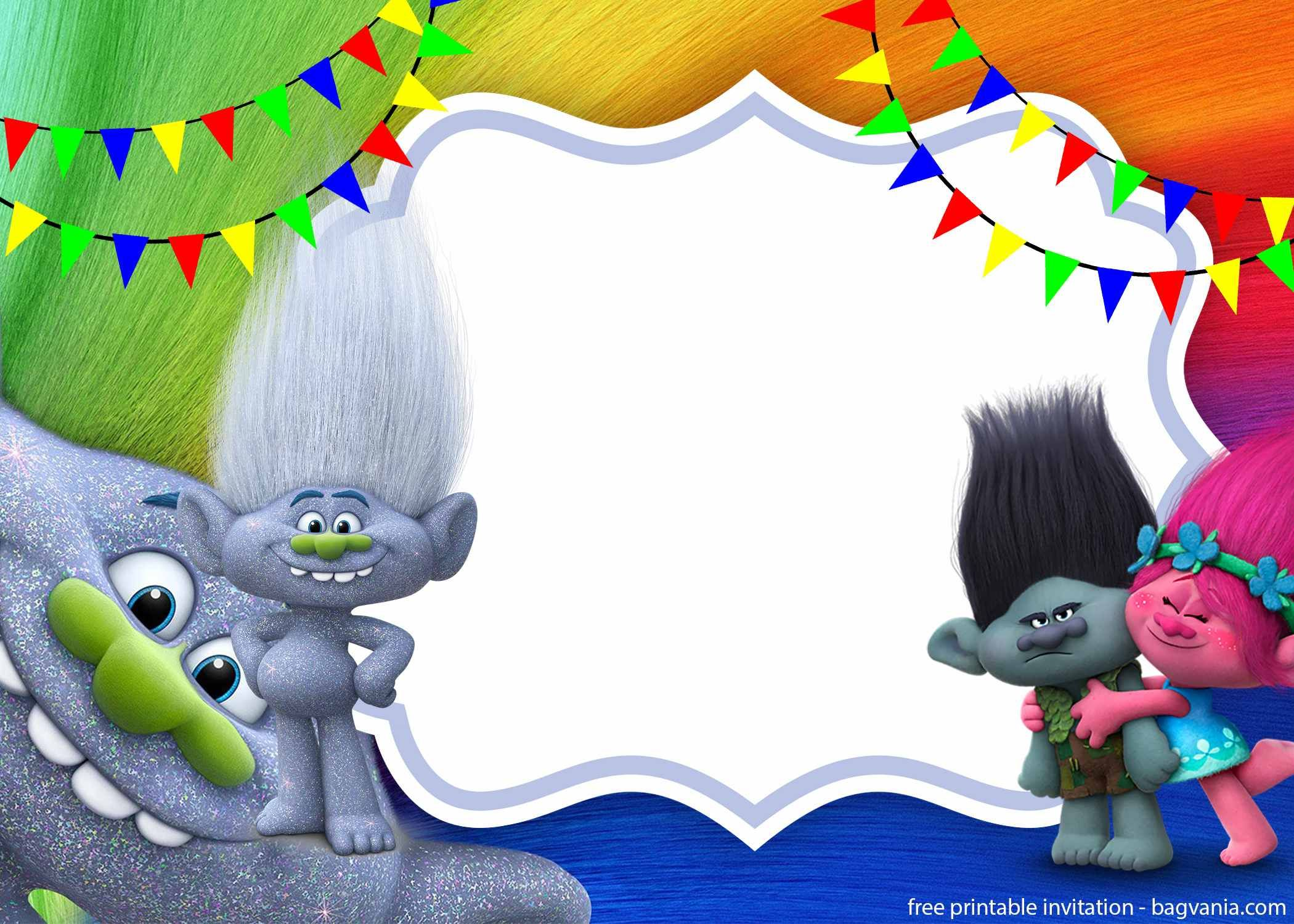 Free Download Trolls Invitation Template  Festa de aniversário