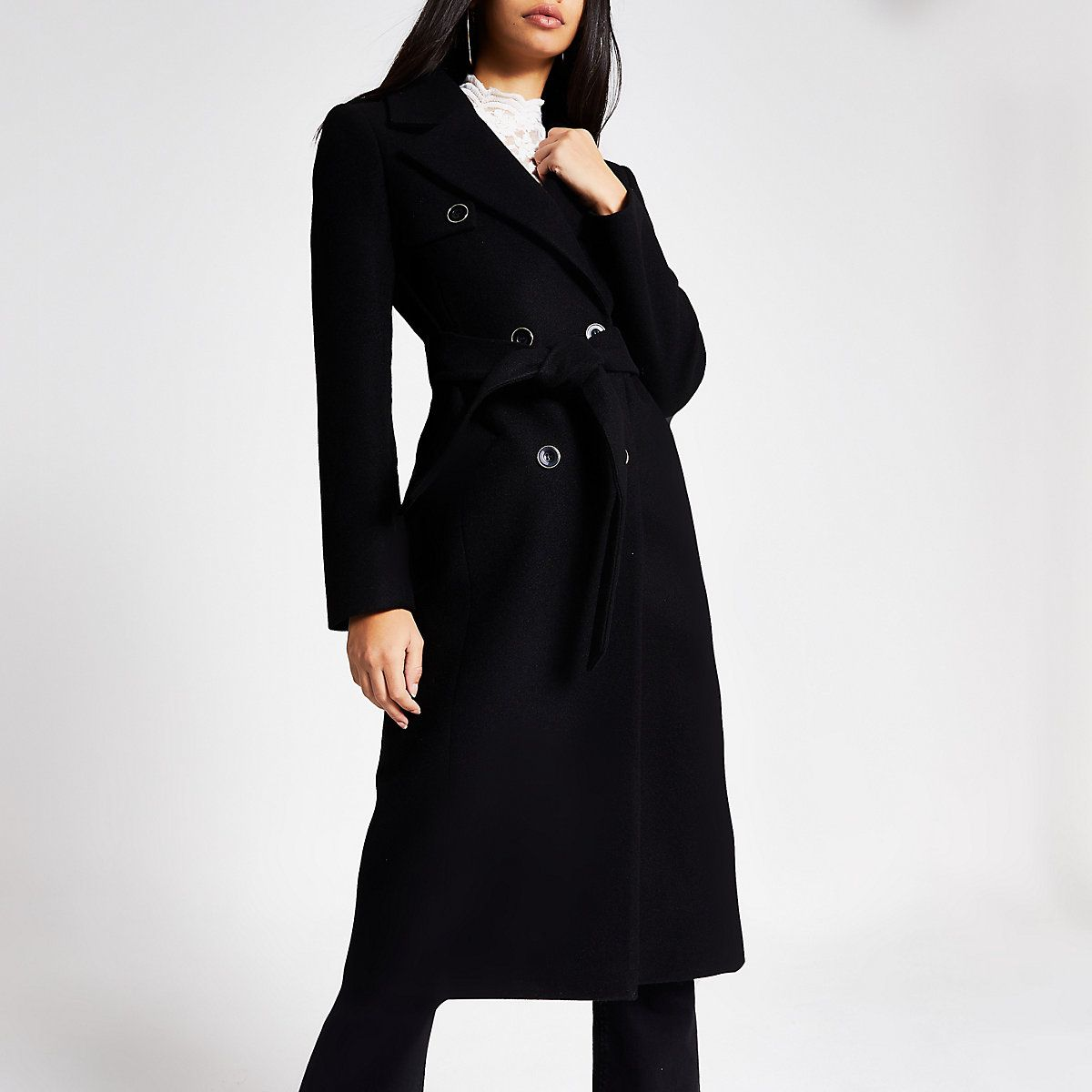 womens black belted coat