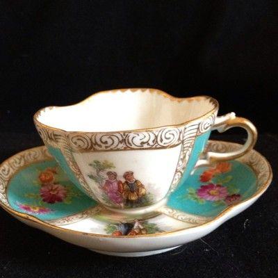 Richard Klemm Dresden Hp Watteau Quatrafoil Tea Cup And Saucer