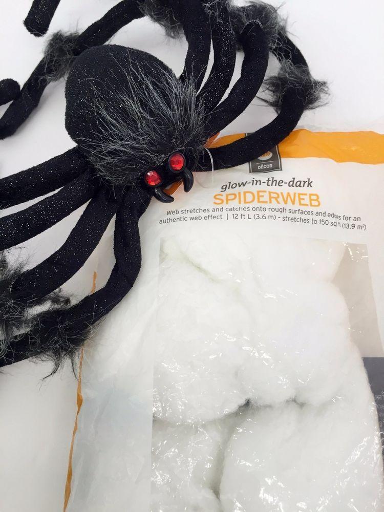 Halloween Decoration Large Black Fuzzy Spider  Glow in the Dark - spiders for halloween decorations