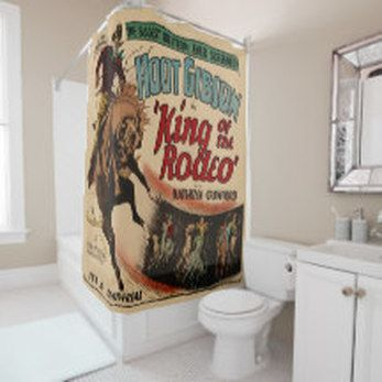 Ordinaire Vintage Western Movie Poster Print King Of The Rodeo Shower Curtain