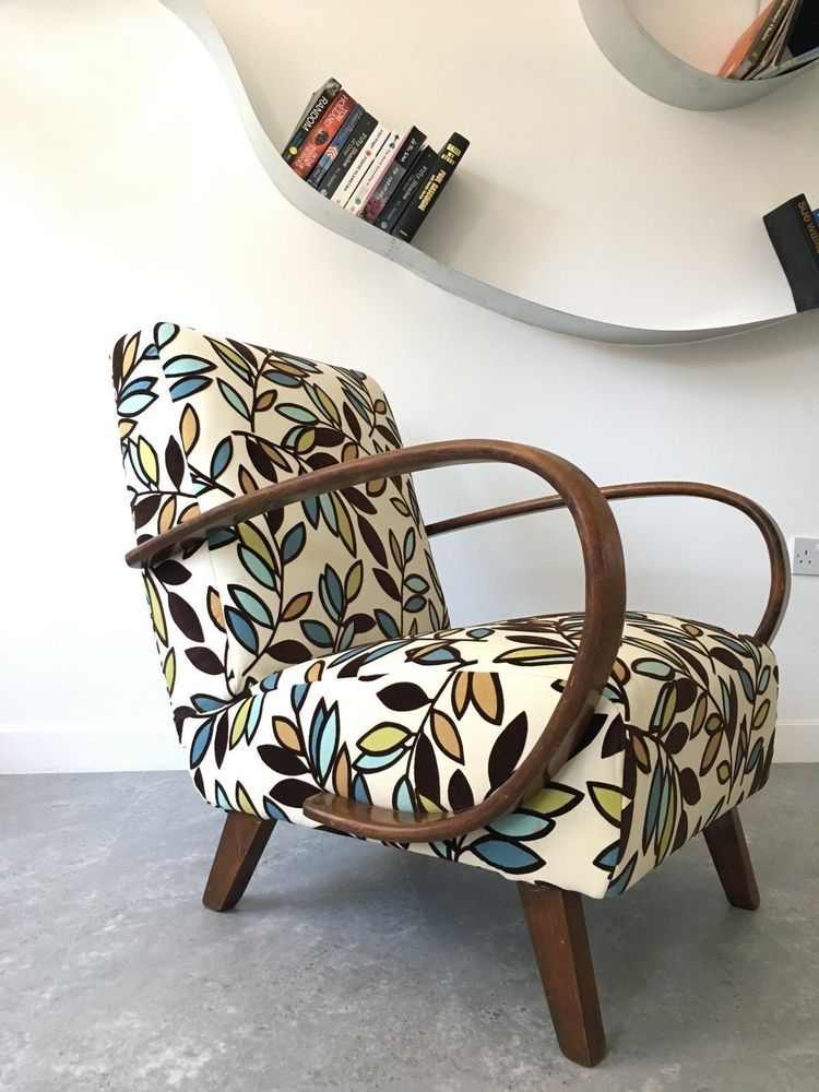 Antique Furniture Vibrant Fabric With Double Pipe Finish Chairs Edwardian Painted Armchair